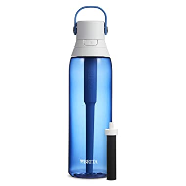 Brita Hard Sided Premium Filtering Water Bottle, 26 Ounce, Sapphire