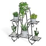 unho 6 Potted Plant Stand, Metal Flower Pot Shelf Indoor Tiered Planter Display Rack Home Garden Decor