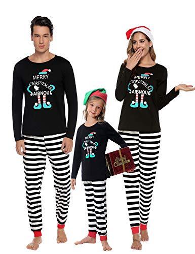 Aibrou Winter Familie Herren Damen Lang Pyjama Set, Karierte Schlafanzug mit Kopfleist Langarm Shirt und Pyjamahose Schwarz 150 (Herstellergröße: 12-13 Jahre Alt)