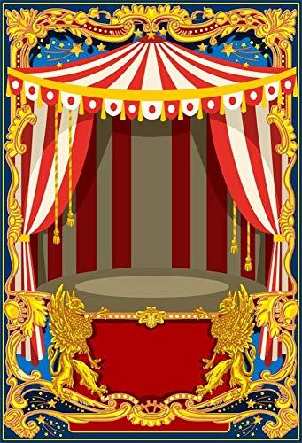 Cassisy 2x3m Vinyl Circus Achtergrond Rood Wit Strepen Circus Tenten Gouden fotolijst Dragon Foto Achtergrond voor Partij Foto Shoots Kinderen Studio Props Fotografie Achtergronden