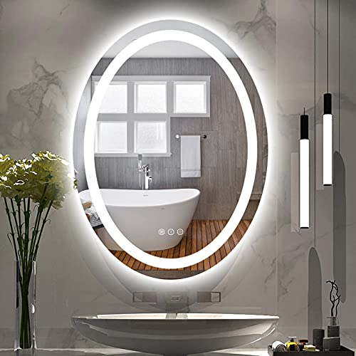 Amorho Oval LED Mirror Bathroom Dimmable Shatter-Proof & Frameless