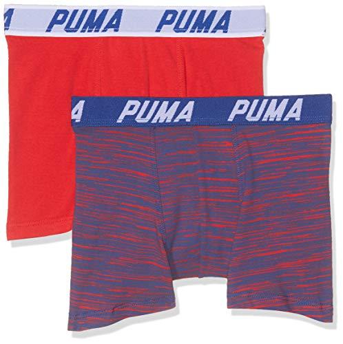 PUMA Jungen Basic Boxer Space Dye 2p Boxershorts, (Red/Blue 505), 7-8 Jahre (Herstellergröße: 128) (2er Pack)