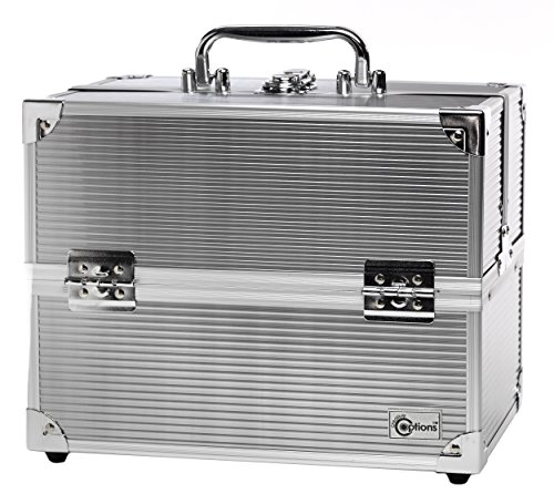 Silver Metal Makeup Train Case