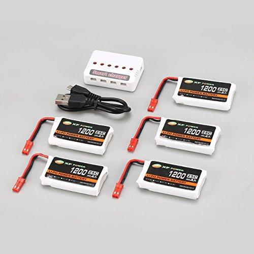 Ballylelly 5Pcs 3.7V 1200mAh 25C Lipo JST Batteria con Caricatore USB a 6 Porte per Syma X5HC Drone Quadcopter