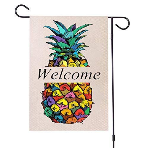 UUPKONE Pineapple Welcome Garden Flag Vertical Double Sided 12.5 X 18 Inch Decorative Flag for All Seasons and Holidays Welcome Farmhouse Burlap Yard Outdoor Decor Weather Resistant House Flag
