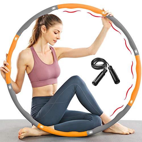 TTMOW Reifen Hoop Fitness zur Gewichtsreduktion mit Schaumstoff Gewichten Einstellbar von 1,65 bis 2,2 lb für Erwachsene und Kinder, mit Geschenk Springseil (Orange)