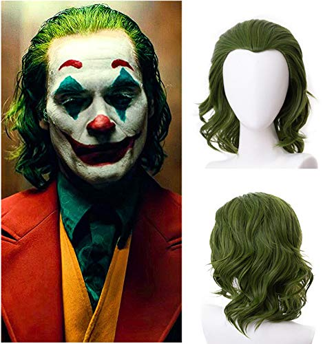Mersi Green Wigs for Joker Cosplay Costume Wig Mens Boys Short Wavy Hair Wig for Halloween Party S088GR