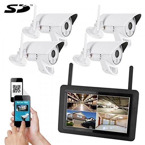 HaWoTEC HD Funk Videoüberwachung Überwachungssystem mit Monitor und Akku Kameraset mit 4 HD Funk-Kamera mit LED Licht PIR Sensor