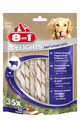 8in1 Delights Beef Twisted Sticks, gesunder Kausnack für sensible Hunde, 35 Stück (190 g)