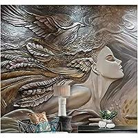 Iusasdz カスタム壁紙ホーム装飾壁画クリエイティブレリーフビューティーピーコックテレビソファ背景壁壁画3D壁紙-150X120Cm