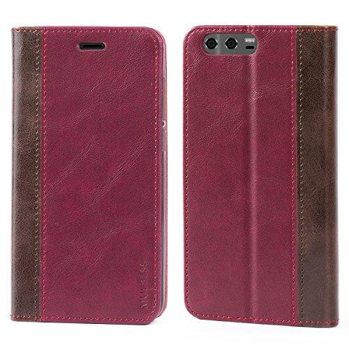 Mulbess Handyhülle für Huawei P9 Hülle Leder, Huawei P9 Handytasche mit BookStyle Flip Schutzhülle für Huawei P9 Hülle, Wein Rot