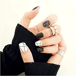 New 24 Pieces Short False Sticker Matte Black and White Line Girl 3D DIY Fashion Style Plastic Art Nail Tips with Glue Gel (Color : 1)