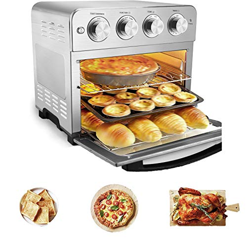 24-Qt Countertop Convection Toaster Oven, Air Fryer Toaster Oven with Dehydrator & Rotisserie Roast, Bake, Broil, Reheat, Fry Oil-Free (Silver, 1700W), Sold by Henwi