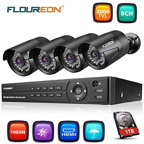 FLOUREON Videoüberwachung 8CH AHD 1080N DVR Recorder mit 1T Festplatte + 4X 3000TVL 2.0MP 1080P Überwachungskamera CCTV Wasserdicht Sicherheitskamera P2P Bewegungsmelder