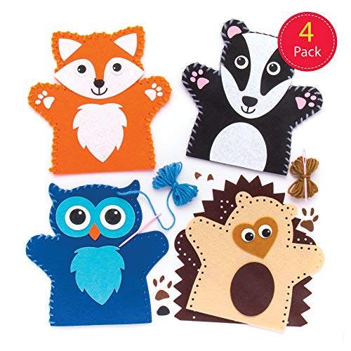 Baker Ross Woodland Animal Hand Puppet Sewing Kits (Pack of 4) for Kids Arts and Crafts