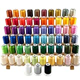 New brothread 63 Brother Colors Polyester Embroidery Machine Thread Kit 500M...