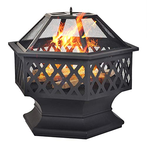 Grandma Shark Steel Hexagonal Fire Pit,Fire Bowl for Garden and Patio,Outdoor garden fire pit with mesh cover (black)