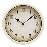 Filly Wink Retro Wall Clock Non Ticking 10 inch Classic Silent Quartz Battery Operated Clocks Decorative Home Living Room Bedroom Office School(White)
