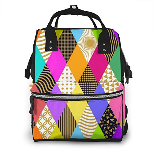 UUwant Sac à Dos à Couches pour Maman Vintage Carnival Seamless Pattern with Bright Rhombus and Different Geometric Ornaments Diaper Bags Large Capacity Diaper Backpack Travel Nappy Bags Mummy Backpa