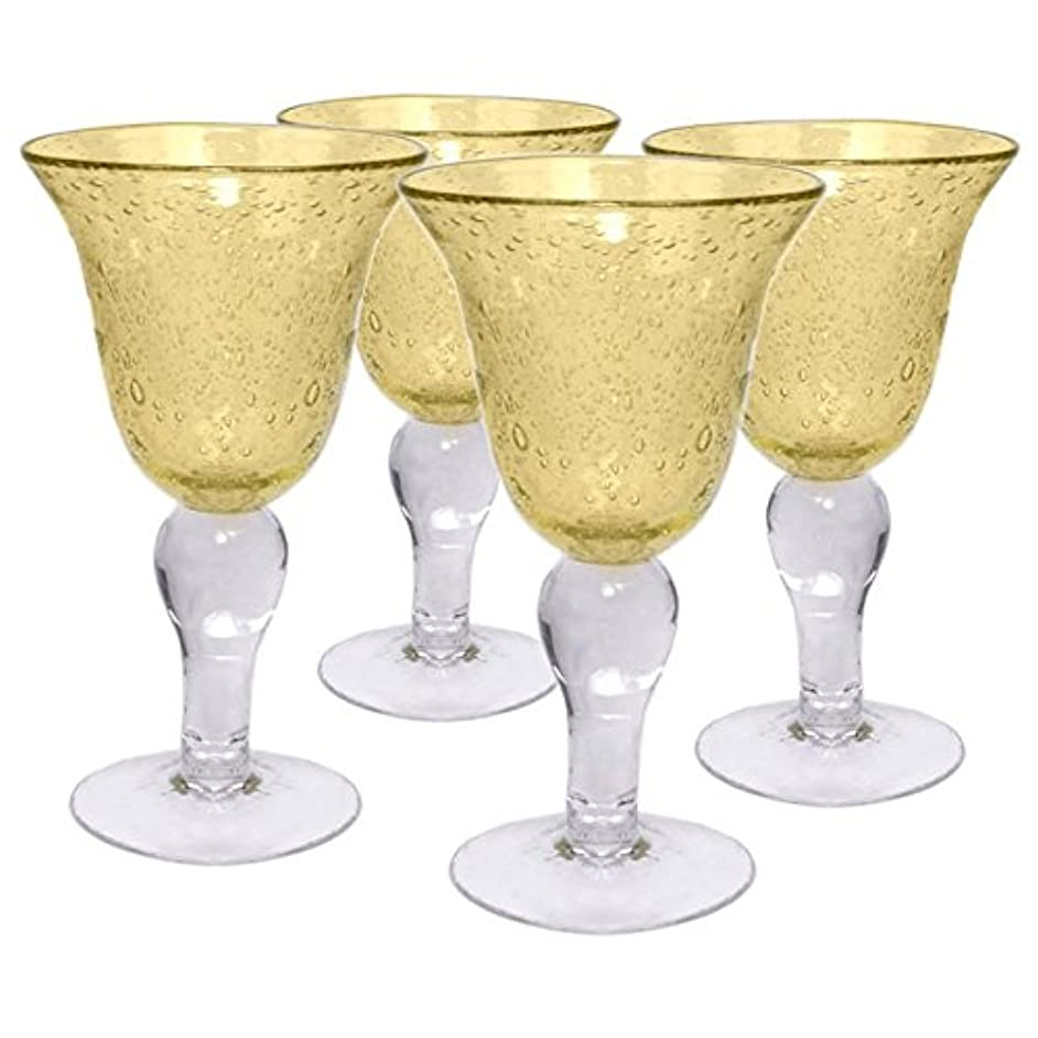 Artland Iris Seeded Citrine Glass 14 Ounce Goblet, Set of 6