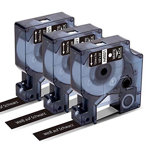 Markurlife kompatible Etikettenband als Ersatz für DYMO 45021 Weiß auf Schwarz 12 mm Beschriftungsband für DYMO LabelManager 160, DYMO 280, DYMO 210D (12 mm x 7 m, 3 Packungen)