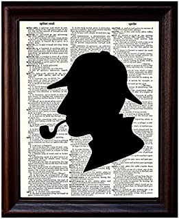 Sherlock Holmes Silhouette - Printed on Upcycled Vintage Dictionary Paper - 8
