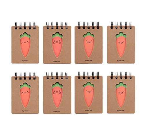 Shulaner blocco note spirale piccolo, mini quaderno piccolo spirale simpatico taccuino per appunti con carota, 10,4 x 7,6 cm, Confezione da 8
