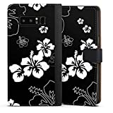 DeinDesign Cover kompatibel mit Samsung Galaxy Note 8 Duos Tasche Leder Flip Hülle Hülle Flowers Blumen Black White