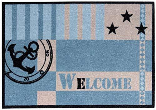 andiamo Fußmatte Metropolitan für den Eingangsbereich, Robuste Schmutzfangmatte Bedruckt, blau 50x70 cm