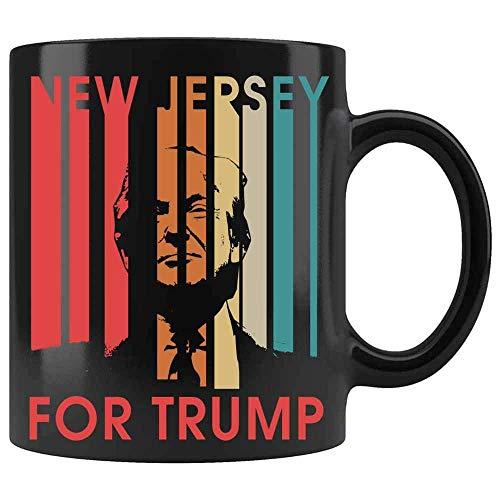 N\A Nueva Jersey vota por la Taza Divertida Retro de Donald Trump. Taza Divertida del Presidente. Donald Trump Taza de café Divertida de cerámica (Negro,)