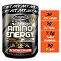 MuscleTech Essential Series Platinum Amino Plus Energy BCAA Powder, Tropical Mango