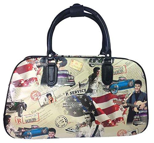 Große Handtasche, Reisetasche, Handgepäck, Kabinengröße, für Wochenendtrips, Trolley-Tasche, - Beige - Elvis Presley Print - Größe: Einheitsgröße