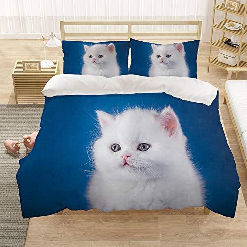 Cubierta de la cubierta del edredón para niños 3D cubierta de cama de 3 piezas Super King Tamaño Animal Cat Blue Eye Eye Eye Funda de cama con cierre de cremallera-Seducir_200 * 229cm