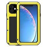 FONREST Completo Funda para Apple iPhone 11(6,1-Pulgada), Love Mei Antichoque Al Aire Libre Híbrido Aluminio Metal Antipolvo Carcasas con Vidrio Templado, Soporte de Carga inalámbrica (Amarillo)