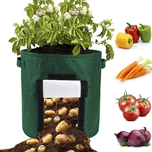 UHBGT 2 Pcs Potato Grow Bags, Plant Grow Bag 10 Gallon Round Potato Planter Bags Felt Plant Container with Flap Access and Handles