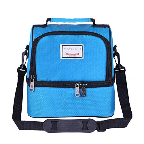 Mayetori Lunch Box, Insulated Lunch Bag for Men & Women Kid, Mens Large Refrigerated Lunch Box Cooler Tote Bag, Double Deck Cooler (Blue)