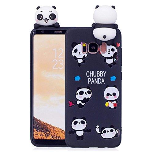 Samsung S7 Edge Hülle, Samsung Galaxy S7 Edge Schutzhülle, 3D Panda - Schwarz Muster Design Handy Hülle für Samsung Galaxy S7 Edge, Ultra Dünn TPU Weich Silikon Handycover Schale Schutz