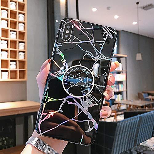 FQSCX Funda para iPhone Funda para teléfono láser para iPhone 12 11 Pro XR X XS MAX 6 6S 7 8 Plus SE 2020 Funda Soporte de Agarre de mármol Coque Brillante Capa ForiPhone12 (6.7) HJ-H1