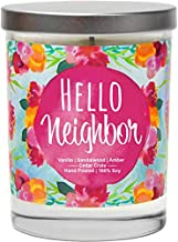 Hello Neighbor - Presents for Neighbors, New Home Candles Gifts, Welcome Home Gift Ideas, Poured in USA, Decorative Aromatherapy, Housewarming Gifts for New Home, Friendship