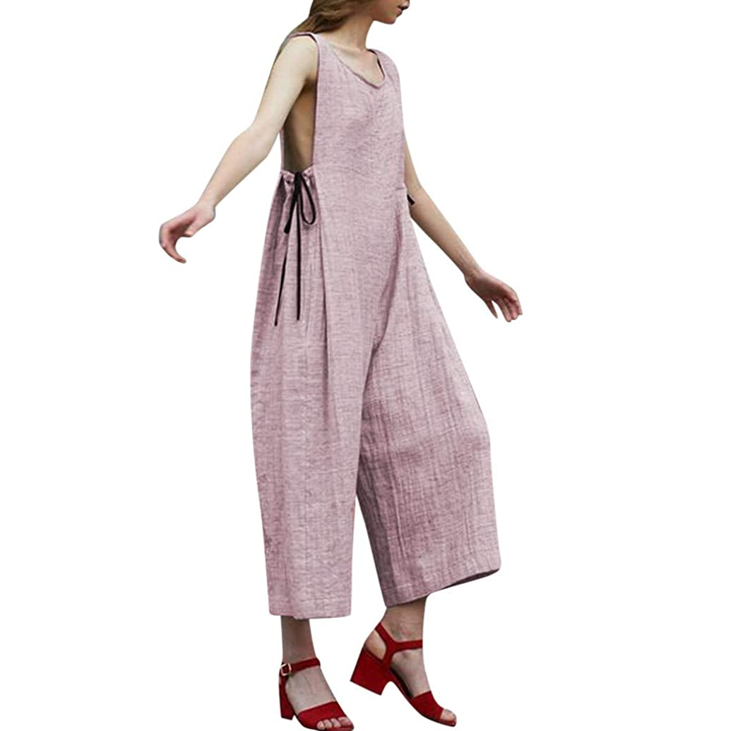 Kexdaaf Casual Jumpsuit, Womens Summer Fashion Loose Comfy Solid Bowknot Sleeveless Long Playsuit Ladies Jumpsuit