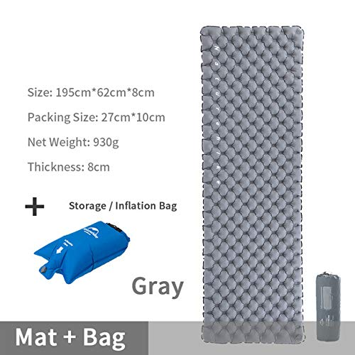 2020 Tapis de Camping Tente Double-airbag Camping Matelas d'air 40d Nylon TPU Lit Gonflable Pad de Couchage Pique-Nique Voyage Gris avec Airbag
