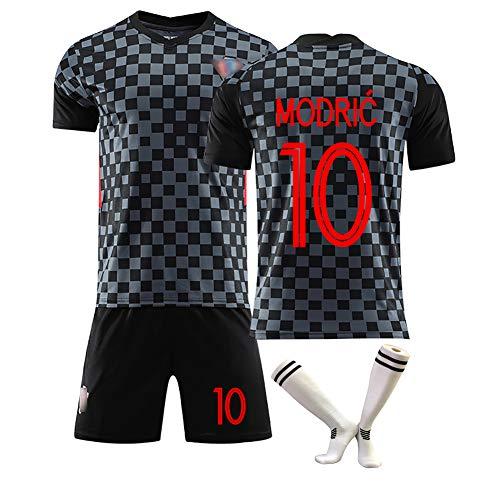 Modric Nr. 10 Mandzukic Nr. 17 Trikots Neuer kroatischer Fußballuniform-Fan-Trainingsanzug, individueller T-Shirt-Shorts für Erwachsene mit Socken-10#-S