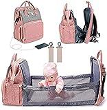 HLLL Mochila con Bolsa de pañales 3 en 1, Cama de bebé Plegable, Bolsa de Viaje Impermeable con Puerto de Carga USB, Bolsa Cambiador de bebé Multifuncional a la Moda para Madre y bebé,Rosado