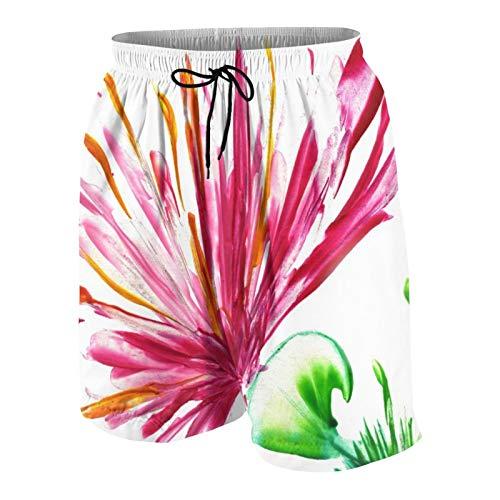 Hombres Personalizado Trajes de Baño,Flores Rojas sobre Blanco,Casual Ropa de Playa Pantalones Cortos