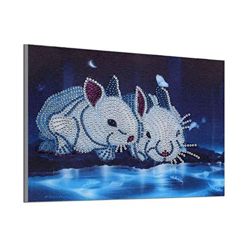 DIY speciale vorm diamant schilderij hars kristal borduurwerk kruis steek konijn in de buurt van de rivier dieren naaldwerk kinderen hobby 30x40cm
