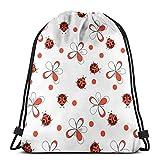 QUEMIN Bolsas con cordón, Mochila, Bolsas de Viaje, Bolsa de Almacenamiento para Mujeres, Hombres, Regalos para niños Cute Ladybug