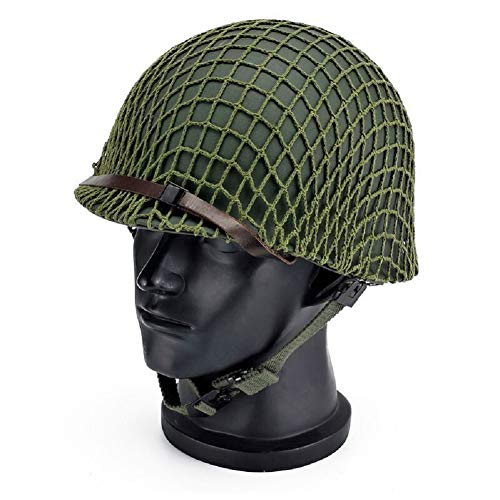 WWII US Army M1 Green Helmet Replica Adjustable with Net/Canvas Chin Strap Tactical Paintball Gear for Adults by BYHai