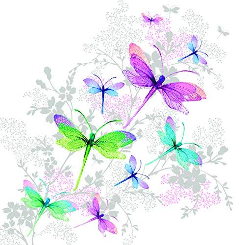 20 Servietten Märchenhafte Libellen als Tischdeko oder zum Basteln mit Serviettentechnik 33x33cm
