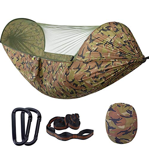 ZXL Draagbare hangmat, 2-in-1 camping-hangmat met net, lichte draagbare hangmat om open te klappen, maximale belasting 200 kg schommel-slaap-hangmat voor camping en buiten of in tuinen