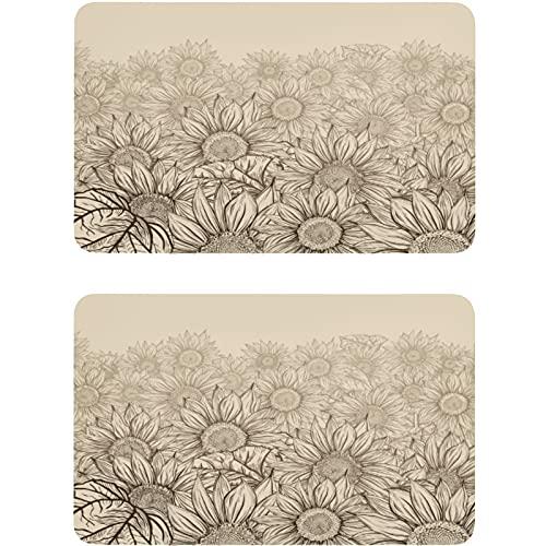 Vnurnrn Placa magnética para nevera con diseño de girasol, retro, estilo vintage, floral, para cocina, oficina, lavadora, 2 unidades